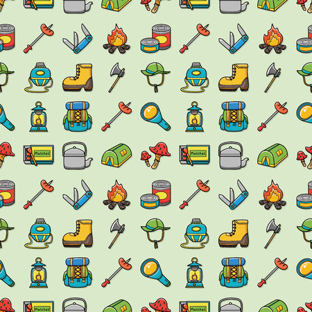 Camping and outdoor icons set,eps10 Illustration
