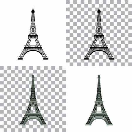 urbane: Set of Eiffel Tower black and gray silhouette