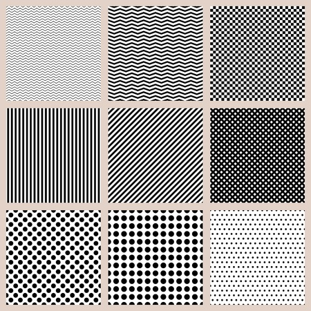 patten: Set of seamless monochrome basic patten Illustration