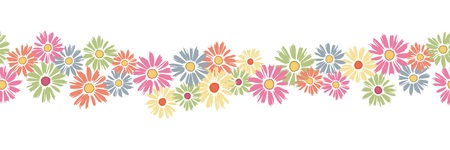 Colorful seamless banner with daisies Illustration
