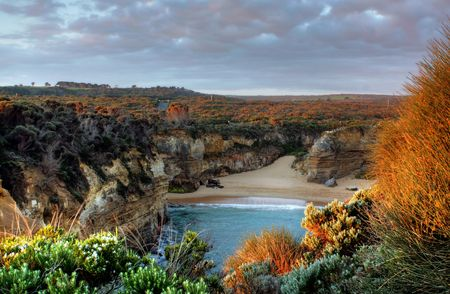 Sunset at the 12 Apostles on the Great Ocean Road, Australia Stock Photo