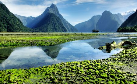Mitre Peak, New Zealand at lowtide Stock Photo