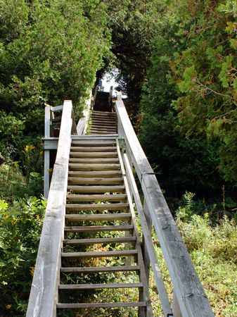 An outdoor wooden staircase
