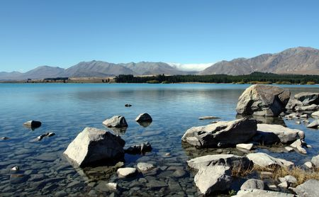 Mount Cook in New Zealand on a blue day Stock Photo - 5965731