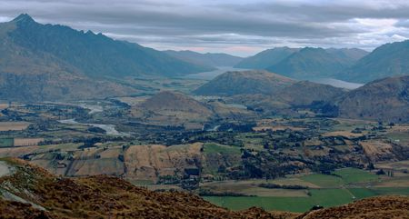 Landscape view onto mountain city in New Zealand Stock Photo - 5965675
