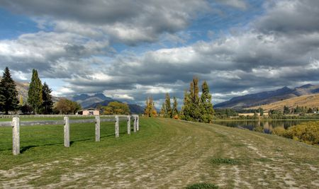 Arrowtown on a Cloudy blue sky in New Zealand