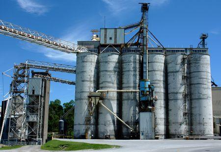 an industrial salt mine on a lake Stock Photo