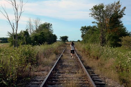 an old railway track in the countryside