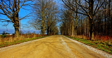 an empty country road in the southwestern Ontario Stock Photo