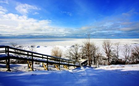 a winter scene at a lake