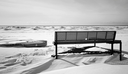 a winter view at the beach Stock Photo