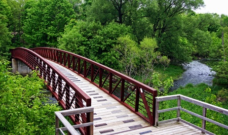 foot bridge: a woodend bridge leading into a forest Stock Photo