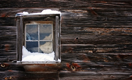 a view of a snow-covered window Stock Photo