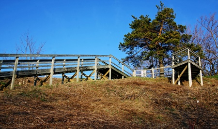 an outdoor wooden staircase Stock Photo