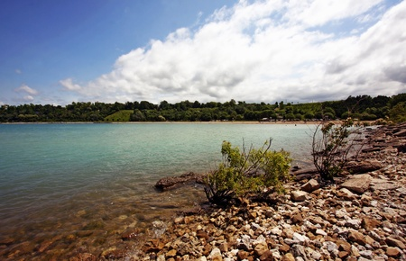 a view of Goderich Beach in summer Stock Photo