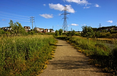 a walking trail in the neighborhood in summer Stock Photo