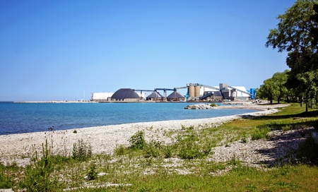 Goderich Salt Mines, Lake Huron in summer Stock Photo