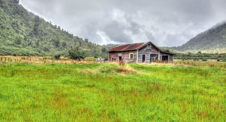 an old shack in the New Zealand mountains Stock Photo