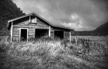 an old shack in the New Zealand mountains photo