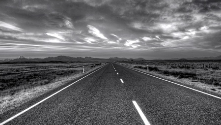 an empty road in New Zealand Stock Photo
