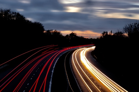 trails of lights from cars traveling along the highway motorway Stock Photo - 114818815