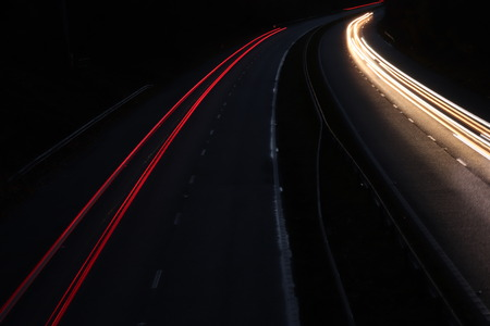 trails of lights from cars traveling along the highway motorway Stock Photo - 114818817