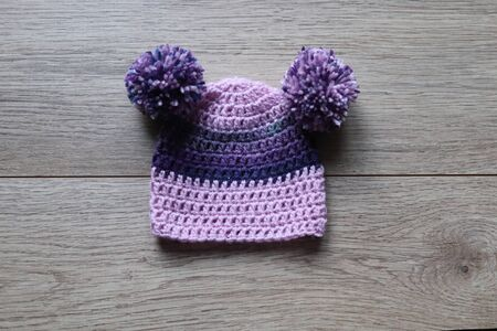 babies woolen hand made hat with pom poms