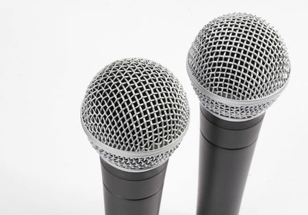 Closeup of isolated microphones photo