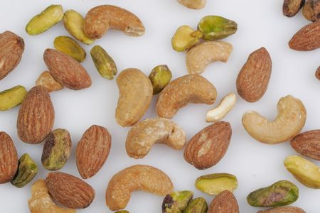 A favorite variety of mixed nuts: almonds, cashews and pistachios.