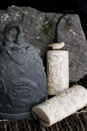 Antique Japanese temple bell and carved ivory medicine boxes