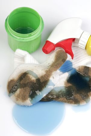 dirty feet: Really dirty white socks worn by a toddler outside with detergents.