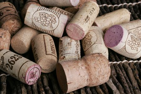 Italian wine corks from many good bottles of wine.