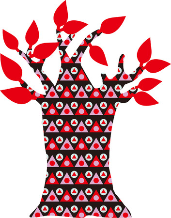 papering: red tree