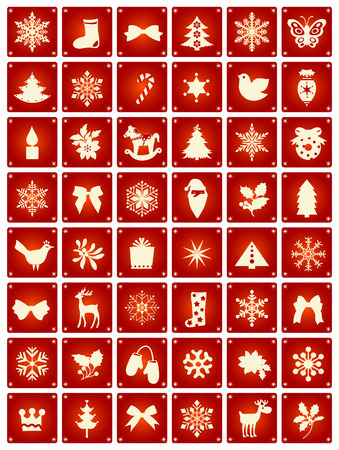 bird icon: vector illustration of several christmas icons and symbols