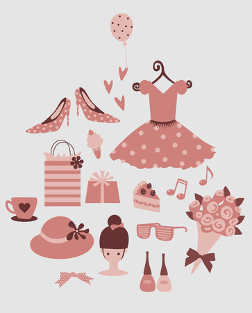beauty and fashion set   Vector