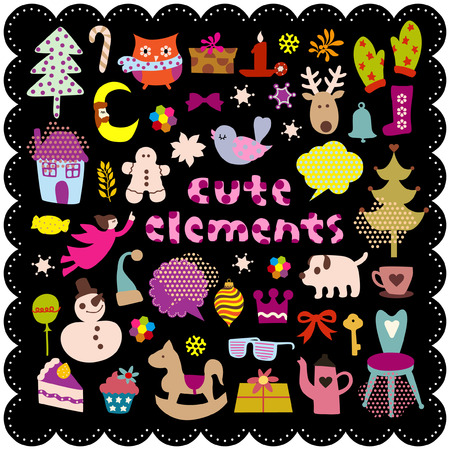 cute christmas: cute christmas elements Illustration