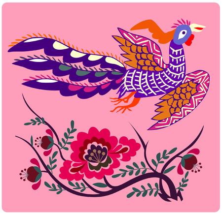 bird and flower Vector