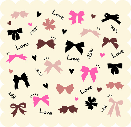 black ribbon bow: bows and hearts Illustration