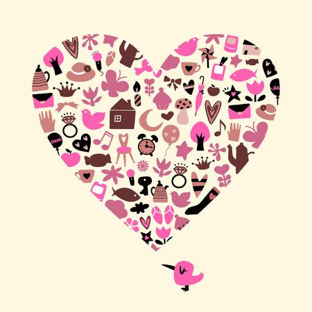 clumsy: uccelli e di cuore Vettoriali