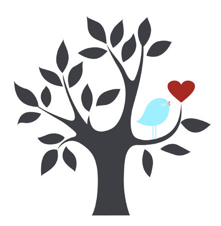 bird and heart Vector