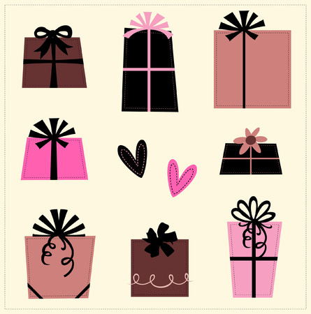 vector lines:  gift boxes   Illustration