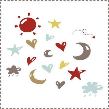 vector hearts: cute elements