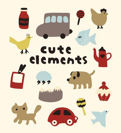 cute elements   Vector
