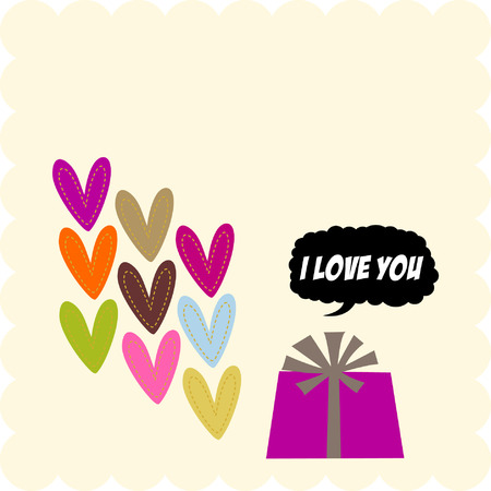 hearts and giftbox   Stock Vector - 4180776