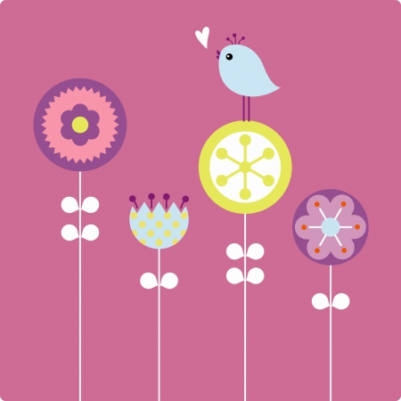 vector flowers: flower and bird   Illustration