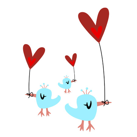 bird and heart balloon Stock Vector - 4259259