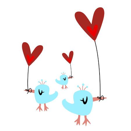 bird and heart balloon Stock Vector - 4259259