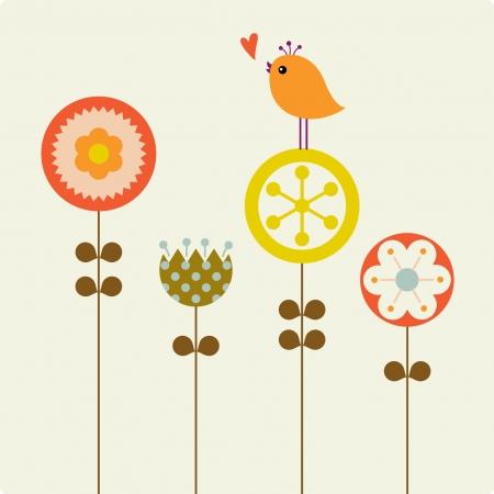 flores y aves Ilustración de vector