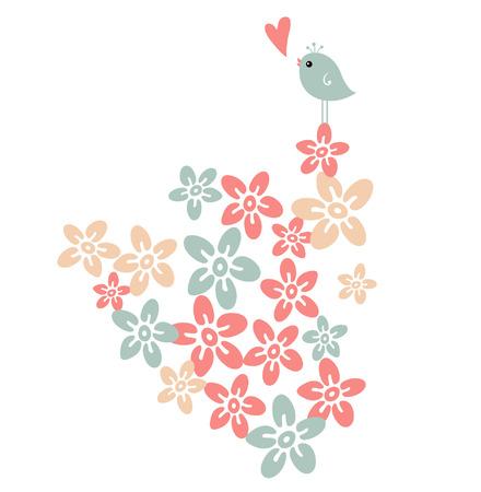 vertical garden:  flower and bird