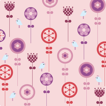 flower and bird background Vector